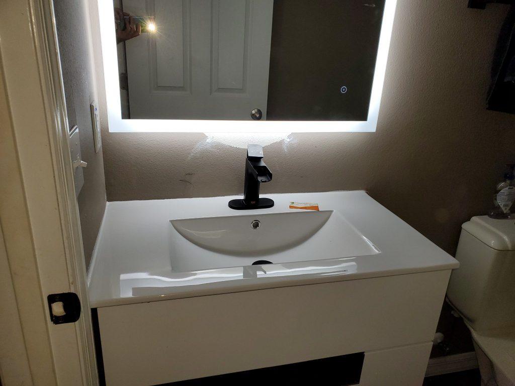Floating Vanity w/ Backlit LED Mirror